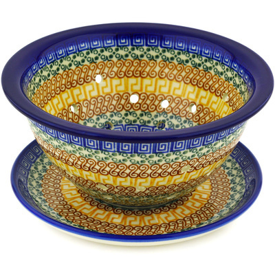 "Polish Pottery Colander with Plate 8"" Grecian Sea"