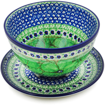 "Polish Pottery Colander with Plate 8"" Green Pansies UNIKAT"