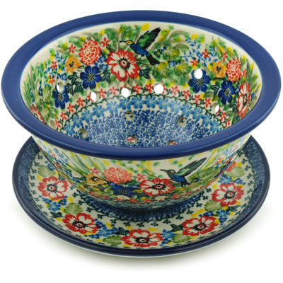 "Polish Pottery Colander with Plate 8"" Hummingbird Meadow UNIKAT"