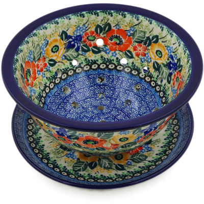 "Polish Pottery Colander with Plate 8"" Iris Meadow UNIKAT"