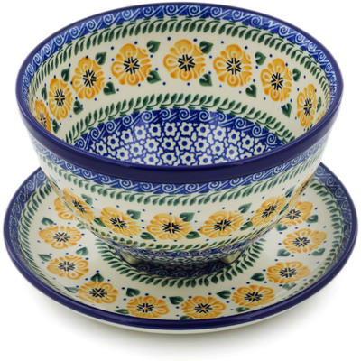 "Polish Pottery Colander with Plate 8"" Marigold Morning"