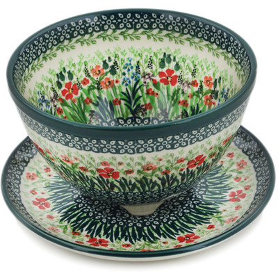 "Polish Pottery Colander with Plate 8"" Red Garden UNIKAT"