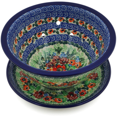 "Polish Pottery Colander with Plate 8"" September Meadow UNIKAT"