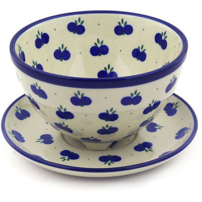 "Polish Pottery Colander with Plate 8"" Wild Blueberry"