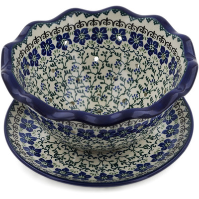"Polish Pottery Colander with Plate 9"" Blue Dogwood"
