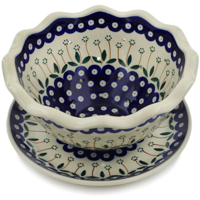 "Polish Pottery Colander with Plate 9"" Springing Daisies"