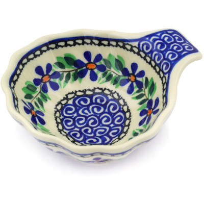 "Polish Pottery Condiment Dish 5"" Blue Daisy Swirls"