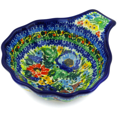 "Polish Pottery Condiment Dish 5"" Bountiful Blue Bonnet UNIKAT"