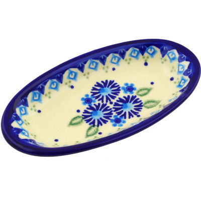 "Polish Pottery Condiment Dish 6"" Aster Patches"
