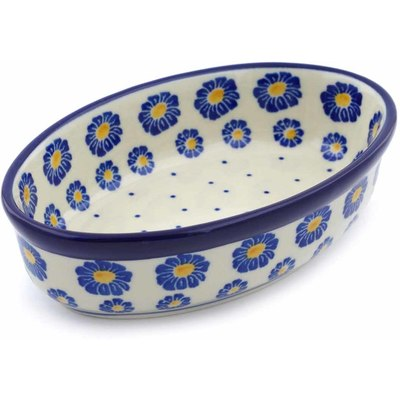 "Polish Pottery Condiment Dish 6"" Blue Zinnia"