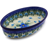 "Polish Pottery Condiment Dish 6"" Forget Me Not"