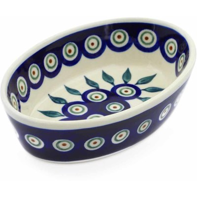 "Polish Pottery Condiment Dish 6"" Peacock Leaves"