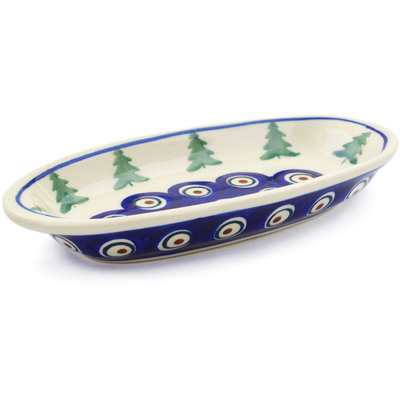 "Polish Pottery Condiment Dish 6"" Peacock Pines"