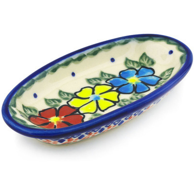 "Polish Pottery Condiment Dish 6"" Primary Poppies UNIKAT"