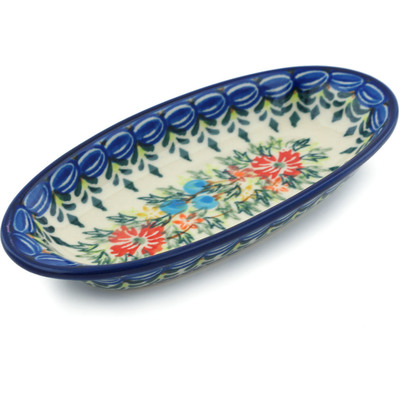 "Polish Pottery Condiment Dish 6"" Ring Of Flowers UNIKAT"