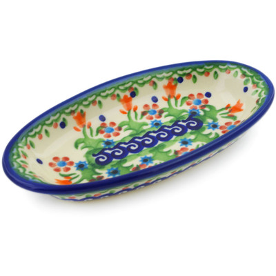 "Polish Pottery Condiment Dish 6"" Spring Flowers"