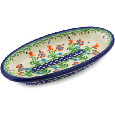 "Polish Pottery Condiment Dish 7"" Spring Flowers"