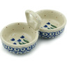"Polish Pottery Condiment Server 5"" Blue Tulip Circle"