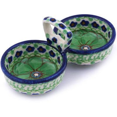 "Polish Pottery Condiment Server 5"" Key Lime Dreams UNIKAT"