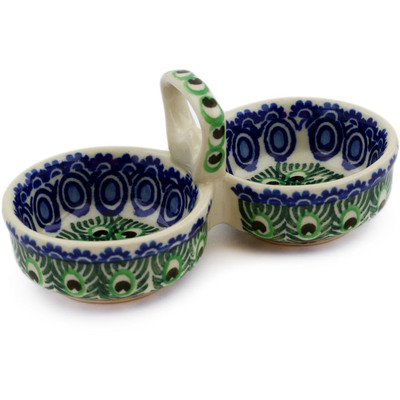 "Polish Pottery Condiment Server 5"" Peacock Tail UNIKAT"