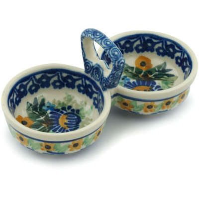 "Polish Pottery Condiment Server 5"" Peeking Blooms UNIKAT"