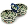 "Polish Pottery Condiment Server 5"" Strawberries And Cream UNIKAT"