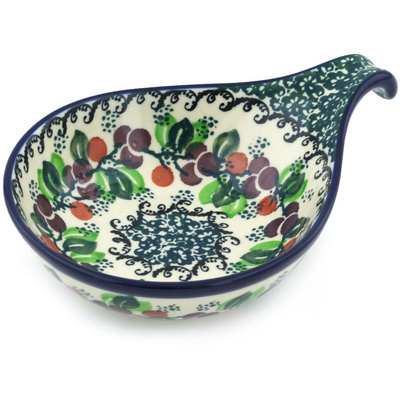 "Polish Pottery Condiment Server 7"" Berry Garland"