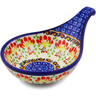 "Polish Pottery Condiment Server 7"" Blooming Red"