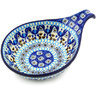 "Polish Pottery Condiment Server 7"" Blue Ice"