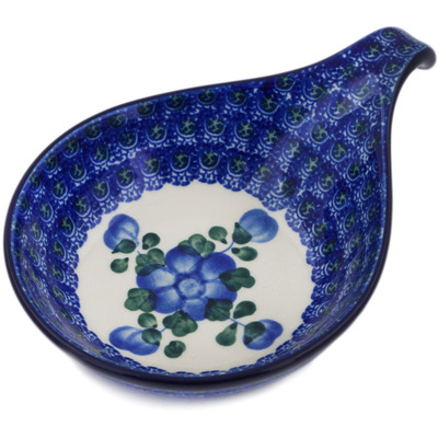 "Polish Pottery Condiment Server 7"" Blue Poppies"
