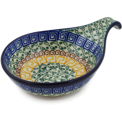 "Polish Pottery Condiment Server 7"" Grecian Sea"