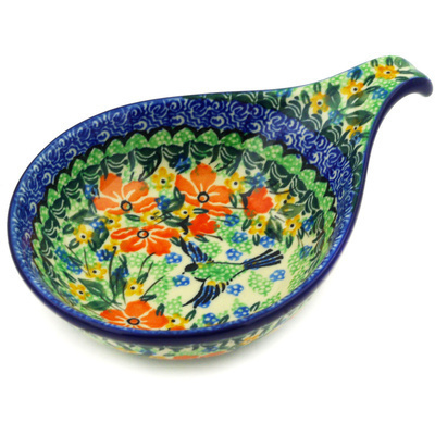 "Polish Pottery Condiment Server 7"" Green Bird UNIKAT"