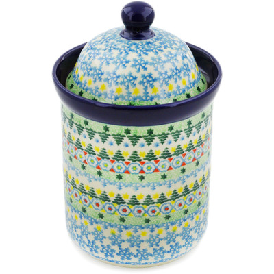 "Polish Pottery Cookie Jar 8"" Christmas Forest UNIKAT"