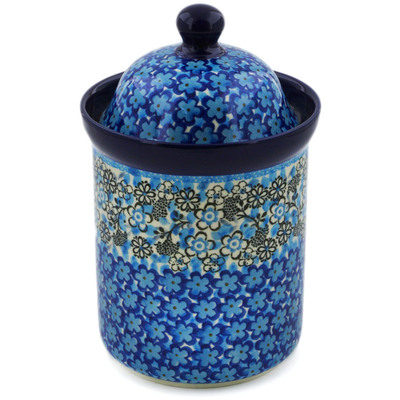 "Polish Pottery Cookie Jar 8"" Out Of Blue UNIKAT"