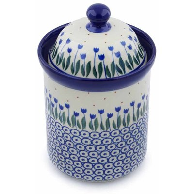 "Polish Pottery Cookie Jar 8"" Water Tulip"