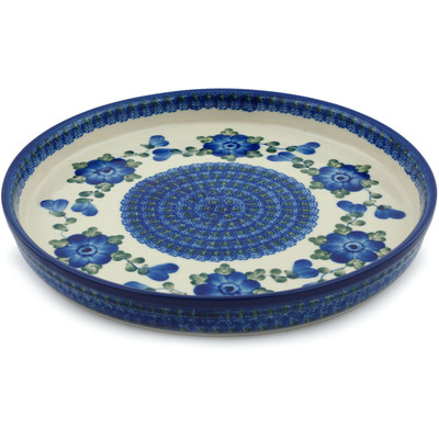 "Polish Pottery Cookie Platter 10"" Blue Poppies"