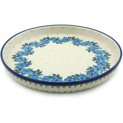 "Polish Pottery Cookie Platter 10"" Blue Rose"