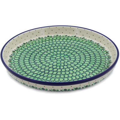 "Polish Pottery Cookie Platter 10"" Cobblestone Path UNIKAT"