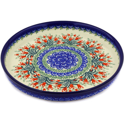"Polish Pottery Cookie Platter 10"" Crimson Bells"