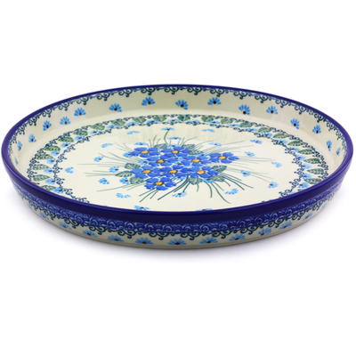 "Polish Pottery Cookie Platter 10"" Forget Me Not UNIKAT"