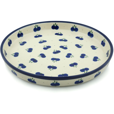 "Polish Pottery Cookie Platter 10"" Wild Blueberry"