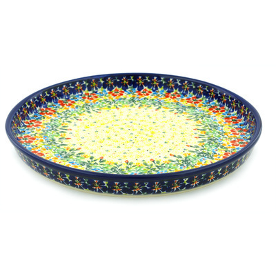 "Polish Pottery Cookie Platter 9"" Bright Eyes UNIKAT"