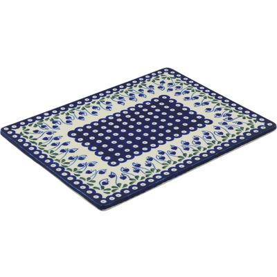 "Polish Pottery Cookie Sheet 13"" Bleeding Heart Peacock"