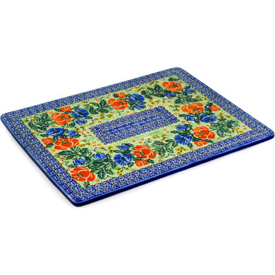 "Polish Pottery Cookie Sheet 13"" Radient Poppy UNIKAT"