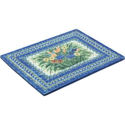 "Polish Pottery Cookie Sheet 13"" Splendid Blue Meadow UNIKAT"