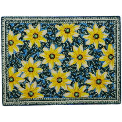 "Polish Pottery Cookie Sheet 15"" Black Eyed Susan UNIKAT"