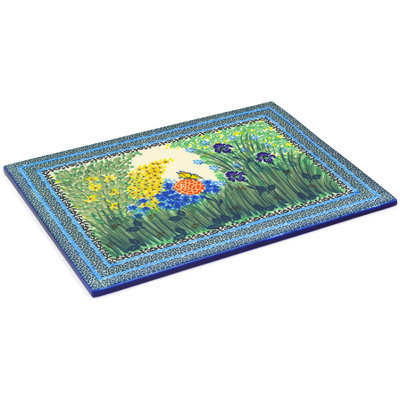 "Polish Pottery Cookie Sheet 15"" Spring Garden UNIKAT"