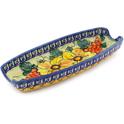 "Polish Pottery Corn Tray 9"" Colorful Bouquet UNIKAT"