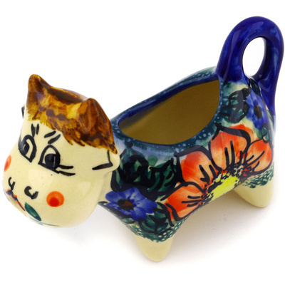 Polish Pottery Cow Shaped Creamer 2 oz Havana UNIKAT