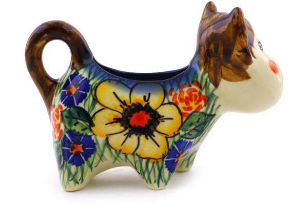 Polish Pottery Cow Shaped Creamer 2 Oz Yellow Flower Unikat